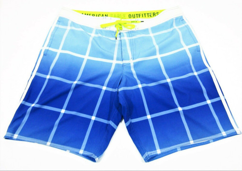 American Eagle Outfitters Men's Swimming Shorts Blue Ombre Plaid XL *Stain*