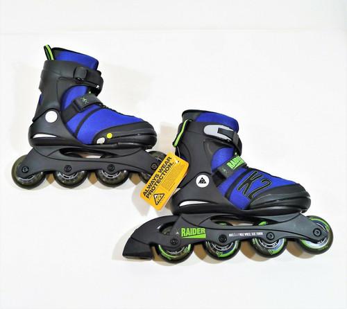 K2 Boy's Youth Blue Raider Softboot Inline Skates Size 4-8 - NEW **BOX HAS WEAR