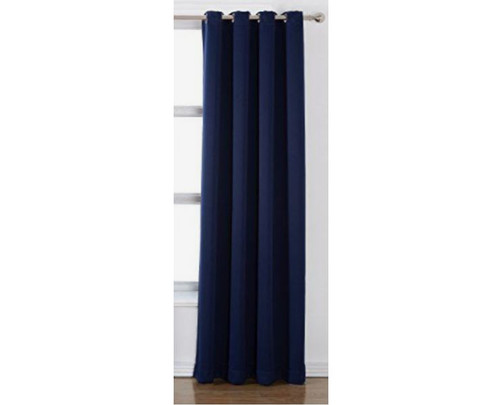 "CB2 Navy Blue Basketweave Grommet Curtain Single Panel 48""X108"" - NEW"