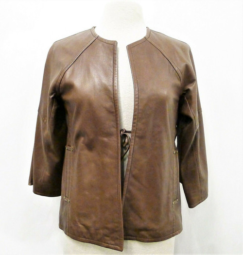 Kooba Women's Chocolate Brown Italian Leather Jacket Size Small *Stains*