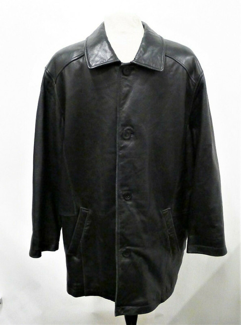 Adler Authentic N.Z Lamb Skin Men's Black Leather Jacket Size Large *Scratch*