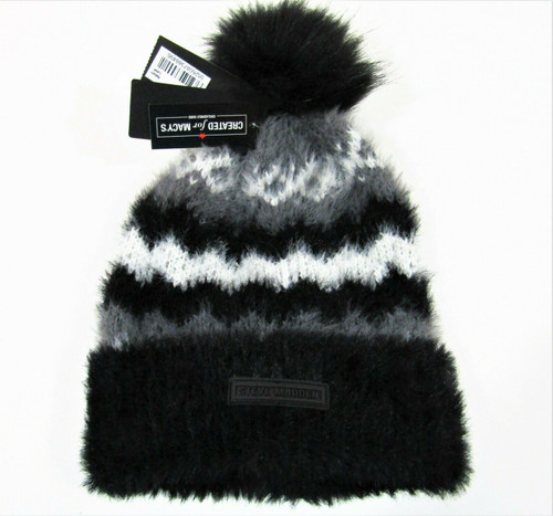 Steve Madden Created For Macy's One Size Black Gray & White Beanie New With Tags