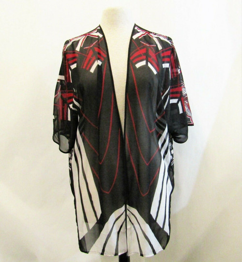 Chico's Travelers Women's Black & & Red Bohemian Sheer Kimono Cover Up Size L/XL