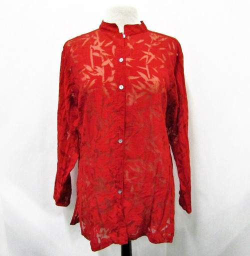 Chico's Women's Red Sheer Orient Long Sleeve Button Down Blouse Size 2