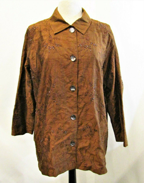 Chico's Design Women's Coffee Silk & Bead Embellished Light Jacket Size 2