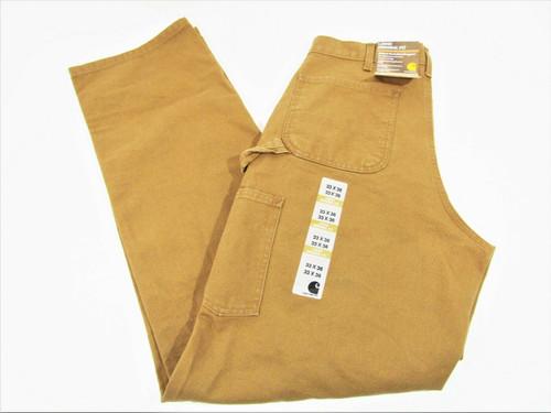 Carhartt Tan Loose Original Fit Work Dungaree Pants Size 33x36 New With Tags