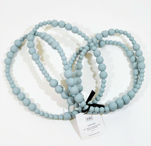 "CB2 Matte Sterling Blue Wood Beaded Garland 120"" - NEW **DIRT AND SCUFFING"