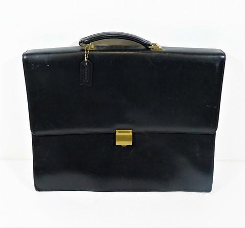 Vintage Coach Black Leather Briefcase Attaché Bag No. G8E-6507 **SEE DESCRIPTION