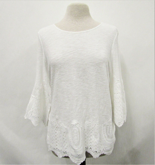 Adrianna Papell Ivory Gauzy Crepe Crochet Trim Top Size L New With Tags