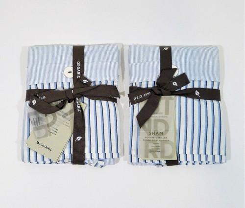 Set of 2 West Elm Blue Washed Cotton Stripe Standard Shams 3852493 - NEW