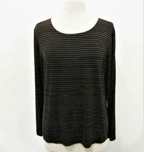 Chico's Design Women's Galaxy Black Stripe Emma Tee Size 3 New With Tags