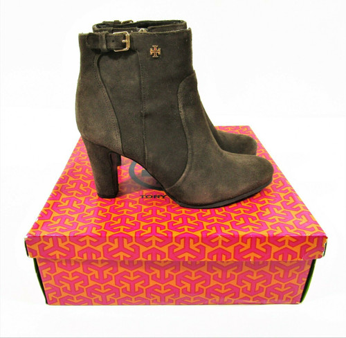 Tory Burch Women's Milan Bootie Tan Split Suede High Heel Boots Size 8