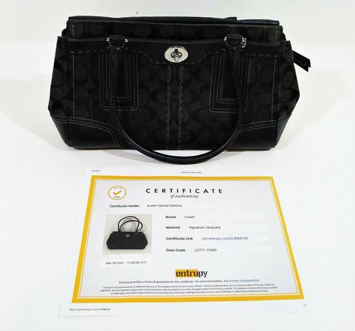 Coach Black Canvas Signature Hampton Carryall Purse Handbag 11589 COA by Entrupy