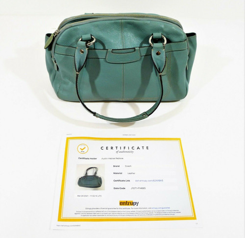 Coach Cambridge Blue Leather Penelope Handbag Purse F14685 COA by Entrupy