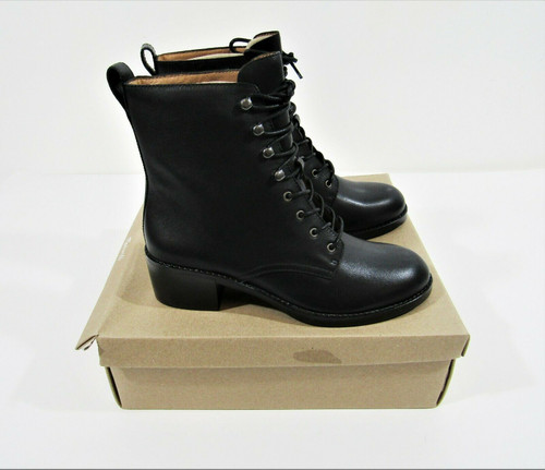 Madewell Women's The Patti Lace-Up Boot Leather True Black Size 8 *New*
