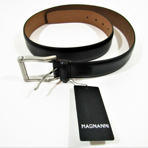 Magnanni Men's Black Carbon Leather Belt Medium Size 34 * New With Tags*