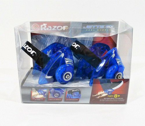 Razor Neon Blue Jetts DLX Heel Wheels with Sparks  - NEW DAMAGED PACKAGE