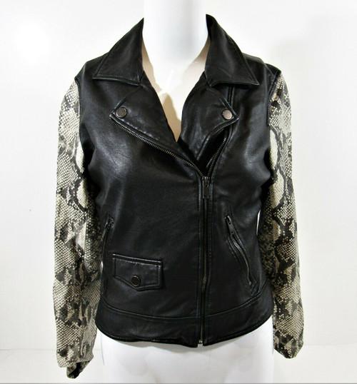 Slate & Willow Women's Black Python Printed Sleeve Leather Moto Jacket Size S