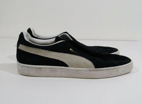 Puma Classic Black & White Suede Men's Shoes Size 9 *No Laces