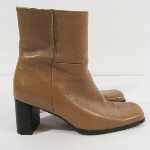 Nine West Tan Leather Women's Block Heel Booties Size 8.5