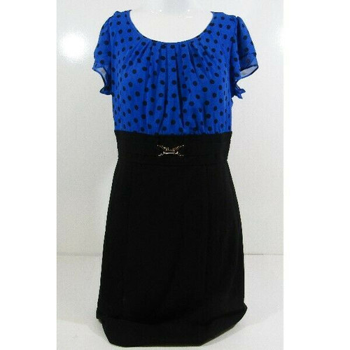 Alyx Limited Black & Blue Polka Dot Women's Dress NWT Size 6 *Has Stain