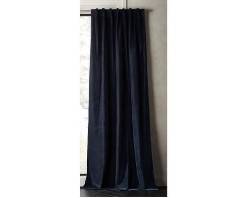 "CB2 Midnight Blue Velvet Curtain Panel  48"" x 120"" - LIGHT LINT"