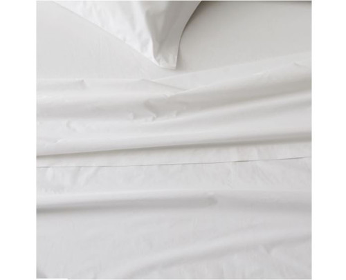 West Elm White Twin 400 Count Organic Cotton Percale Sheet Set - NEW -LIGHT DIRT