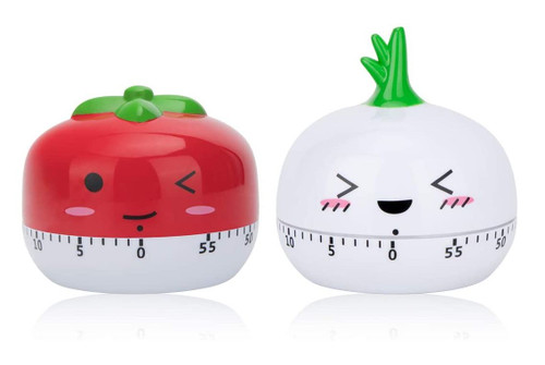 Peinat Kitchen Timer Garlic and Red Tomato 60-Minutes Mechanical Timers - NEW