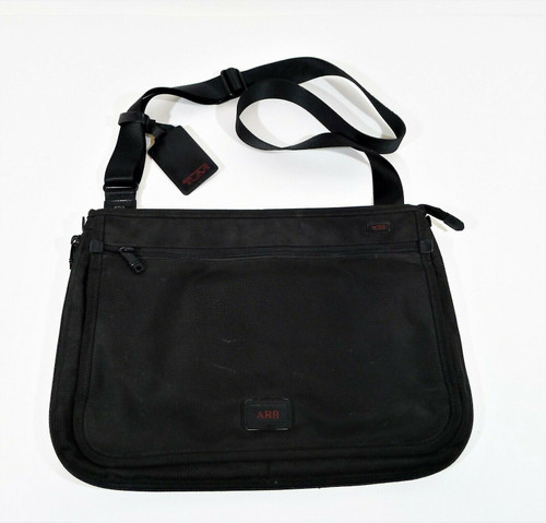 Tumi Black Luggage Alpha Slim Messenger Bag **PERSONALIZED WITH ARB