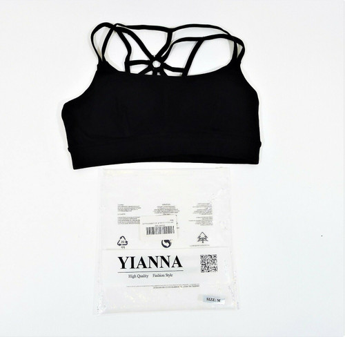 Yianna Women's Black Wireless Padded Cross Back Sports Bra Size Medium - NEW