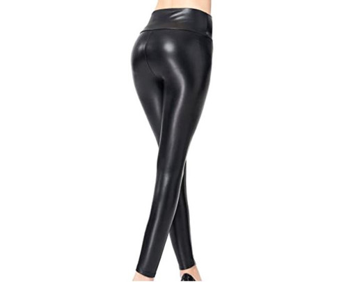 Unbranded Women's Black High Waisted Faux Leather Leggings Pants Size S - NEW