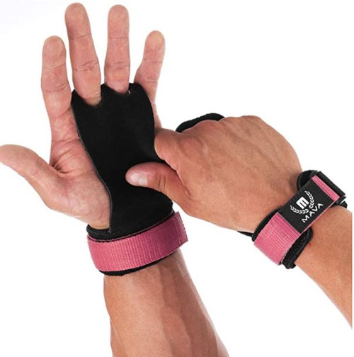 Mava Sports Pink Leather Hand Grips with Wrist Support Size M - NEW