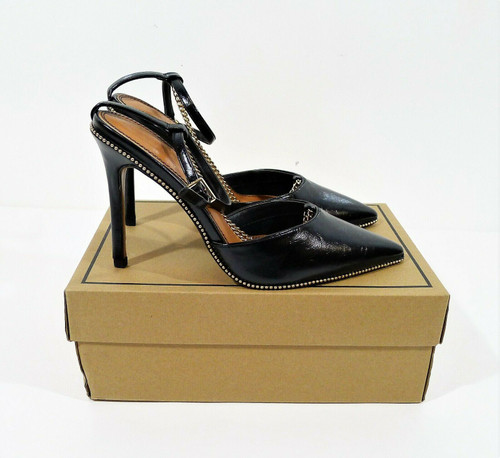 Asos Design Black Priscilla Pointed High Heels with Chain Size US 9 - NEW IN BOX