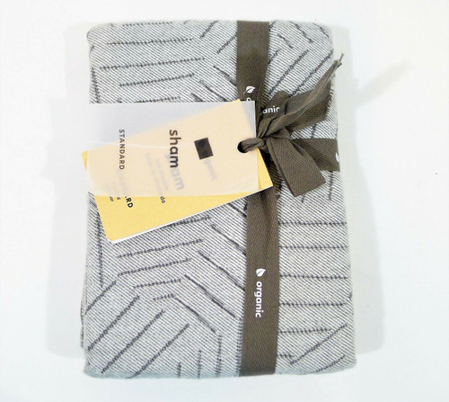 West Elm Gray Flannel Tossed Lines Standard Pillow Sham Only - NEW WITH TAGS