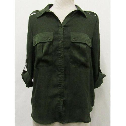 Michael Kors Forest Green 3/4 Sleeve Women's Button Up Blouse Size M