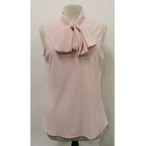 Nine West Pink Tie Neck Women's Sleeveless Blouse Size L