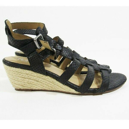 Reba Black Leather Open Toe Women's Wedges Size 9.5