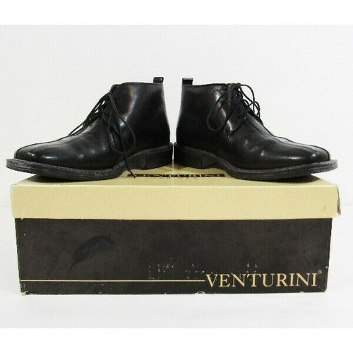 Venturini Black Leather Men's Chelsea Boots In Original Box Size 8.5