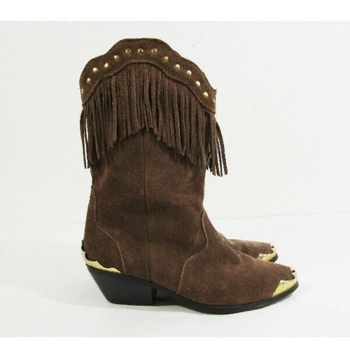 AJ Valenci Brown Leather Women's Southwestern Boots with Fringe Size 8.5M