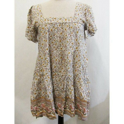 Aakaa Multicolor Floral Short Sleeve Women's Blouse NWT Size S