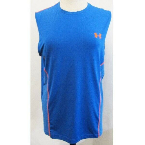 Under Armour Blue & Orange Sleeveless Men's Workout Top Size L