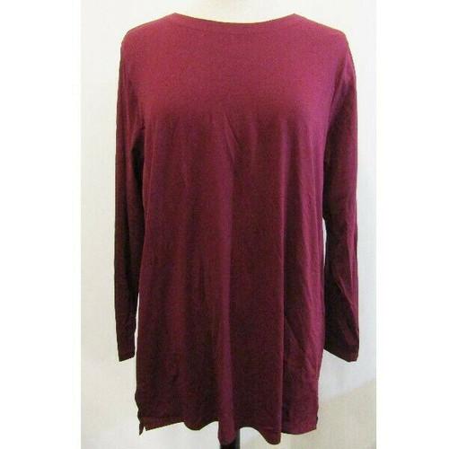 J Jill Burgundy Long Sleeve Women's Luxe Tunic Size XL