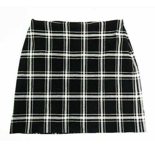 Ann Taylor Black & White Plaid Women's Mini Skirt Size 8