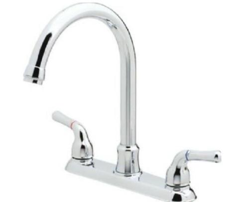 Aspen Two Handle High Rise Spout Kitchen Faucet in Chrome 412324 - OPEN BOX