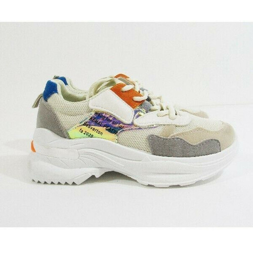 She & In Multicolor Chunky Women's Sneakers with Slogan Size 5.5/36