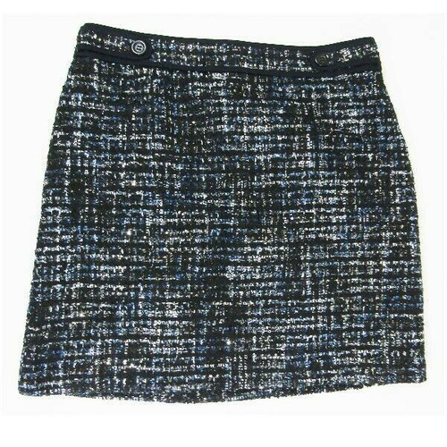 Ann Taylor Black & Blue Tweed Women's Skirt New with Tags Size 14