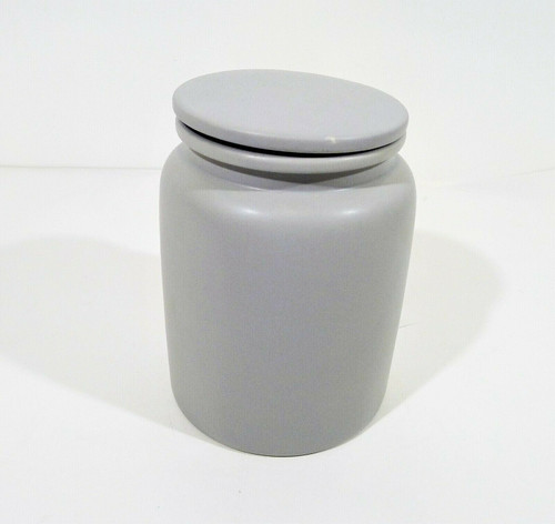 """CB2 Prep Light Grey Large Canister 5.5"""" dia. x 7.25"""" H - LIGHT DIRT SCUFF ON LID"""