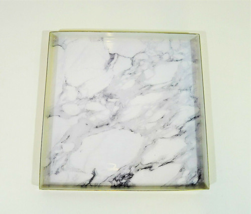 """CB2 Active Large White Marble Tray  12.25"""" W x 12.25"""" D x 1"""" H -SEE DESCRIPTION"""