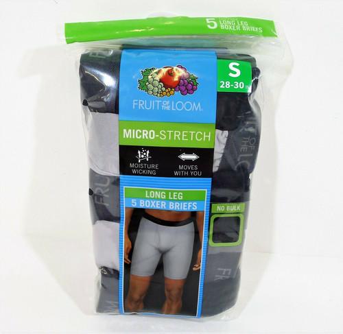 5 Pk Fruit of the Loom Men's Black/Gray Long Leg Boxer Briefs Size S (28-30) NEW