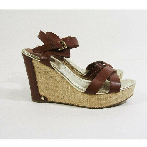 Liz Claiborne Brown & Tan Open Toe Women's Wedges Size 9M